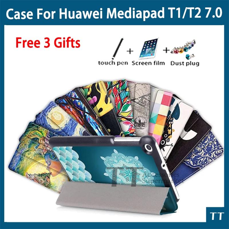 Case pour Huawei Mediapad T2 7.0 Tablet PC Ultra Mince Stand en cuir Case Pour Huawei MediaPad T1 7.0 + livraison 3 cadeaux