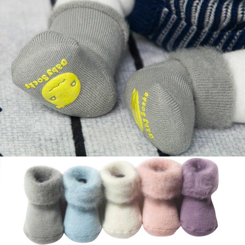 2018 new cute solid color woolen socks Winter Thick Baby Terry Socks Warm Newborn Cotton Boys Girls Cute Toddler Socks