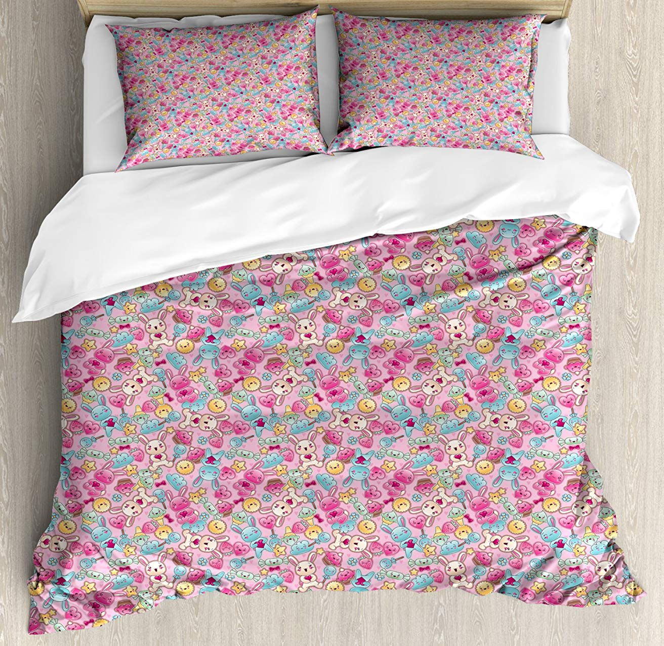 Baby Duvet Cover Set  Kawaii Bunnies Ice Cream and Candies Doodle Style Cartoon Drawing Abstract, Decorative 3 Piece Bedding SetBaby Duvet Cover Set  Kawaii Bunnies Ice Cream and Candies Doodle Style Cartoon Drawing Abstract, Decorative 3 Piece Bedding Set