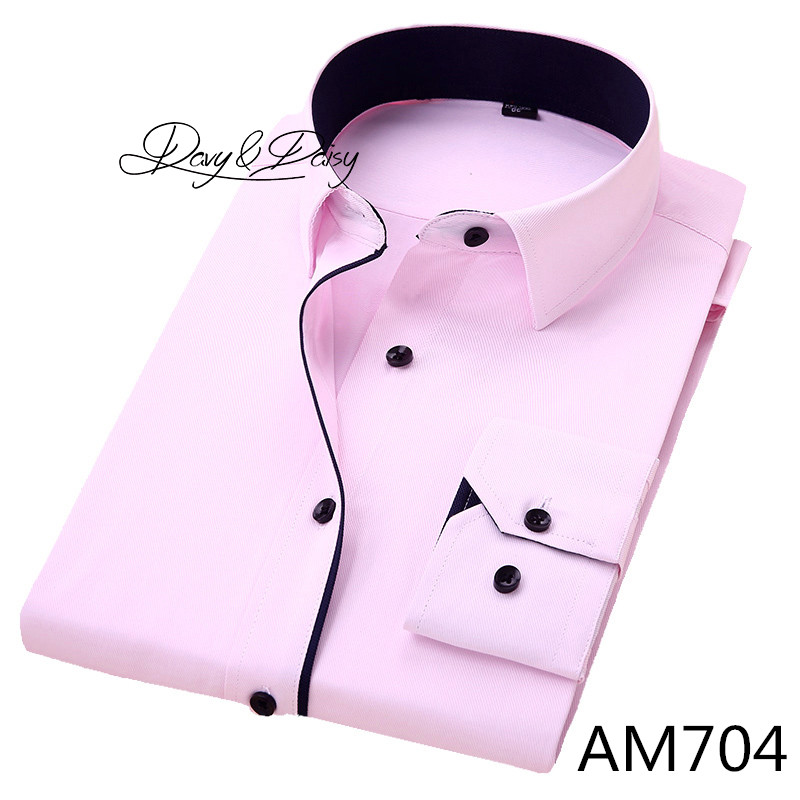 DAVYDAISY High Quality Men Shirt Long Sleeve Twill Solid Formal Business Shirt Brand Man Dress Shirts DS085 15