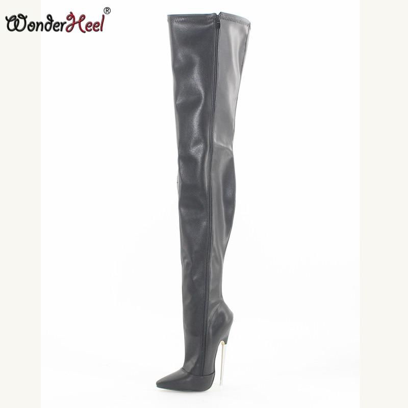 Wonderheel New extreme high heel appr 18cm 7 heel pointed toe sexy black matte stiletto metal
