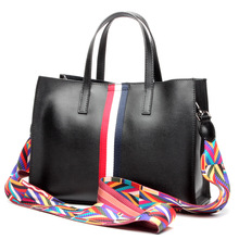 Womens new leather fashion simple shoulder bag Europe and buckle zipper tote