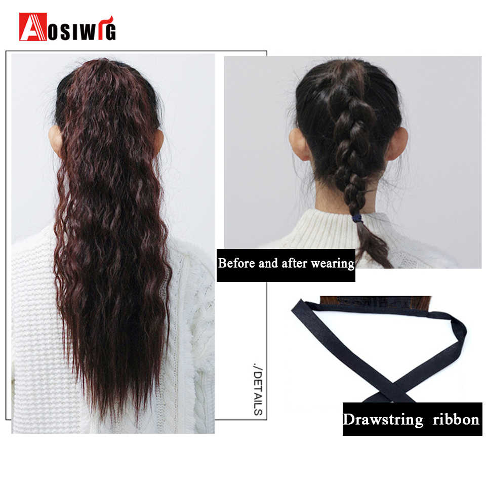 AOSIWIG długi czarny brązowy kręcone sznurek kucyk syntetyczne o wysokiej temperaturze kobiet włókna peruka klip rozszerzenie dla wszystkich kobiet