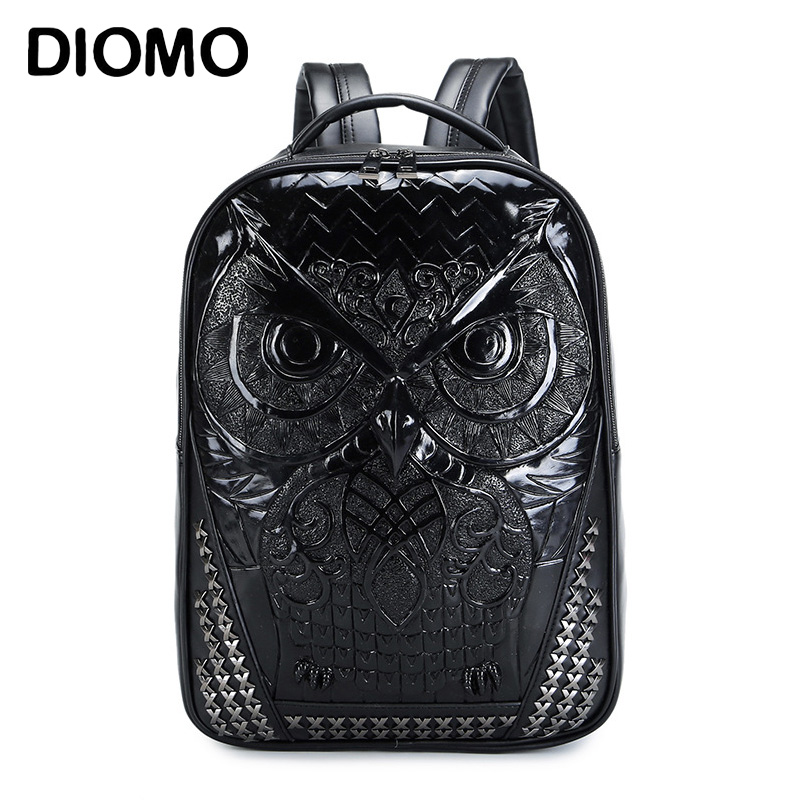 DIOMO Cool 3D Owl Backpack Big Laptop Backpacks for Women and Men Bagpack High Quality Male Backpacks big cool 3d animal owl men s backpack fashion leisure laptop backpacks for teenager school bags travel women s backpack