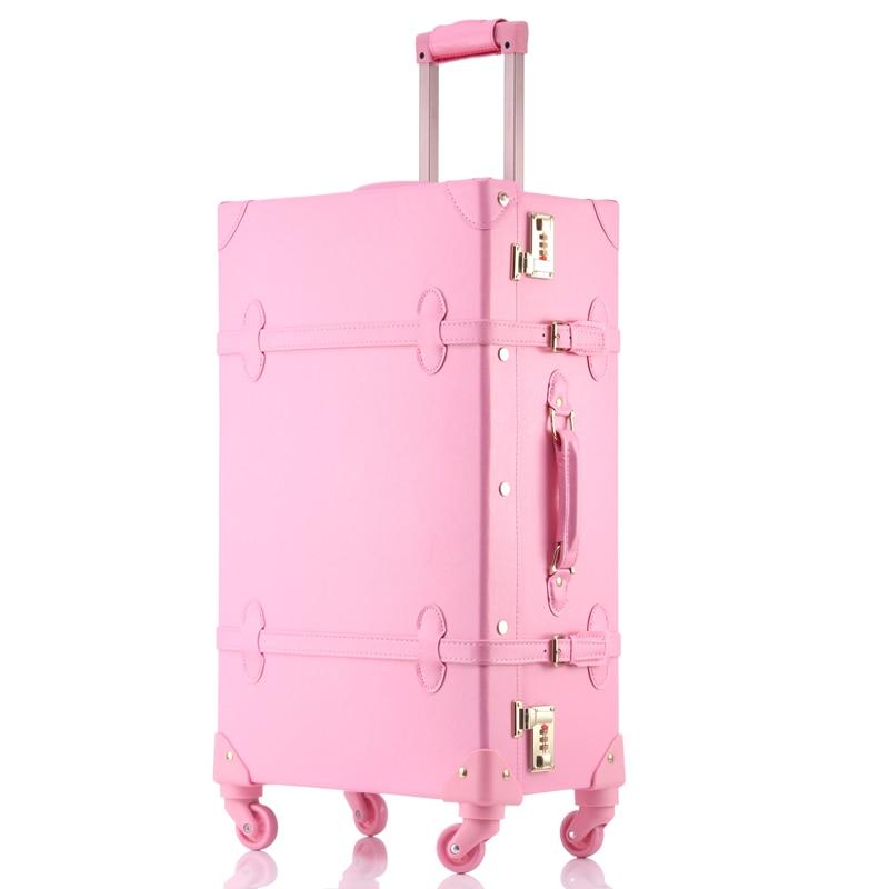 Оптовая продажа! высокого качества для девочек искусственная кожа тележки для багажа комплект с сумкой, прекрасный полный розовый ретро че...