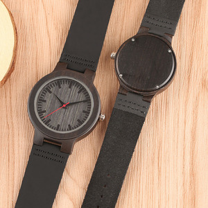 Image 5 - Minimalist Sandal Wood Watch for Couple Brand Design Black Real Leather Red/Black Second Hand Quartz Bracelet Sweetheart Gift