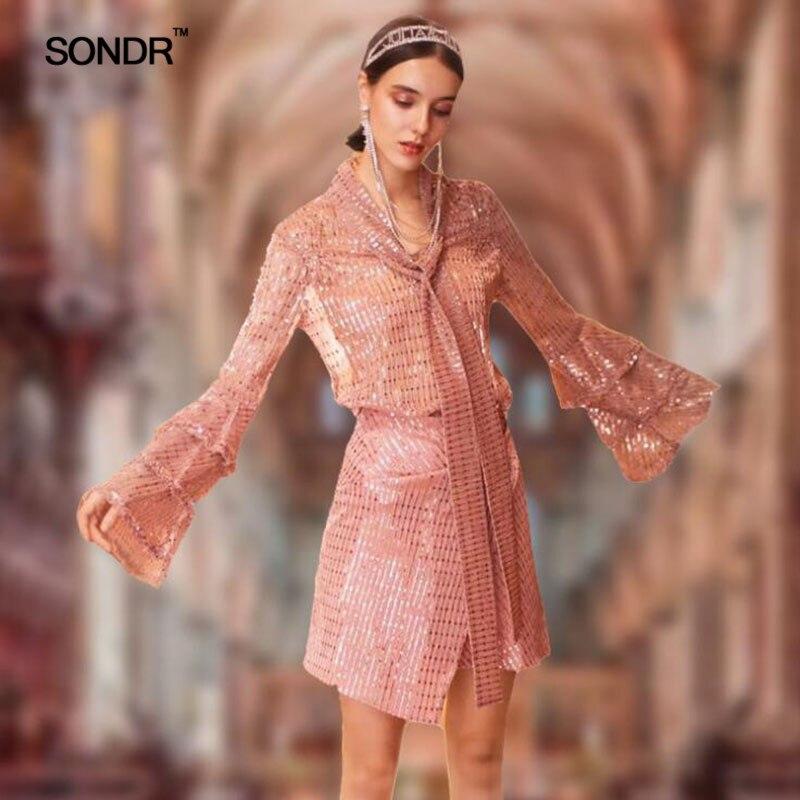 SONDR Sequin Lace Up Twee Delige Set vrouwen Suits Flare Mouw Ruches Blouse Hoge Taille Asymmetrische Mini Rok Lente 2019