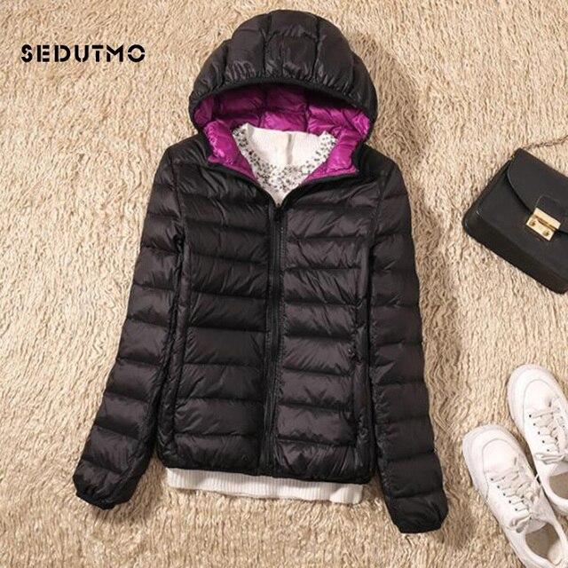 SEDUTMO Winter Duck Down Coat Women Ultra Light Hooded Jackets Two Side Wear Coat Spring Puffer Jacket ED602 3