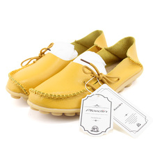 Woman Summer 2018 Casual Shoes Women Flat Heel Cow Muscle Outsole Flat 21 colors Plus Size Lace-Up Women Genuine Leather Shoes
