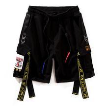 e30f0c0f55 JIN JUE LES Men Short Joggers Summer Ribbons Beach Cargo Shorts Hip Hop  Sweatpants Cotton Harem