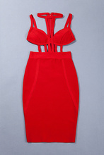 Bodycon Bandage Dress 2016 Red Bandage Bodysuit Bustier Dress Summer Cut Out Sexy Dresses For Women Wholesale HL