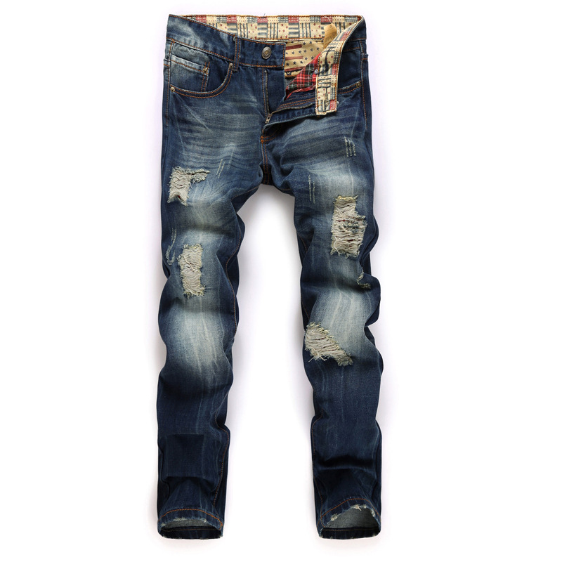 ФОТО Europe and the United States male Hole Patch personality Straight Slim Nostalgia jeans