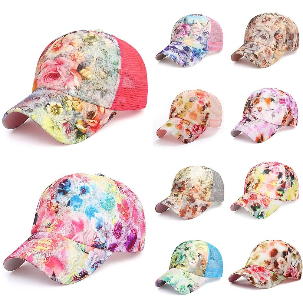 Summer Women's Baseball Cap Painting Embroidery Flower Girls Snapback Hats Woman Female Cap Mesh Summer Gorra Hombre