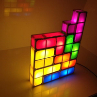 Novelty Tetris Lamp Puzzle Night Light Stackable LED Desk Lamp Constructible Block LED Light Toy Game