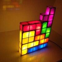 Novelty Tetris Lamp Puzzle Night Light Stackable LED Desk Lamp Constructible Block LED Light Toy Game