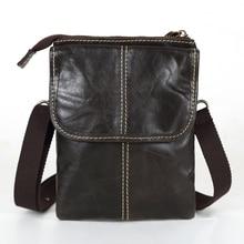 Nesitu High Quality Coffee Vintage Real Skin Genuine Leather Small Men Messenger Bags Phone Shoulder Bag