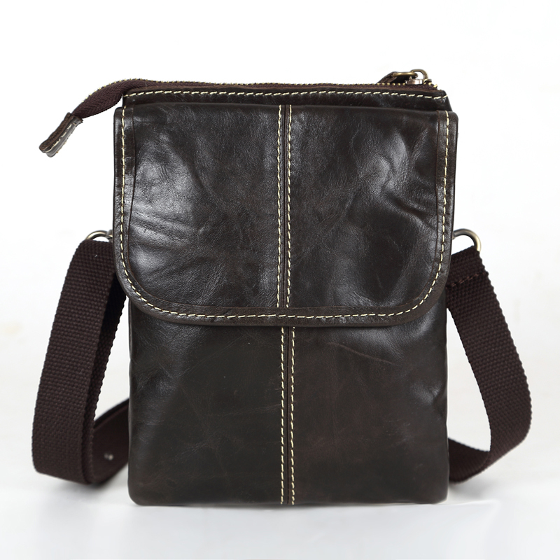 Nesitu Promotion Dark Coffee Vintage 100% Guarantee Real Genuine Leather Cowhide Small Men Messenger Bags Mini Bags #MD-M009
