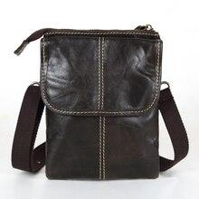 Nesitu Promotion Dark Coffee Vintage 100% Guarantee Real Genuine Leather Cowhide Small Men Messenger Bags Mini Bags #MD-M009