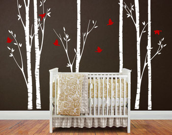 Huge Birch Tree Birds Wall Sticker Vinyl Nursery Wall Art DIY Stickers For Kids Baby Room Wall Decals Branches Home Decor NY-187