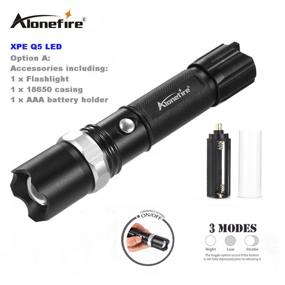 AloneFire TK107 CREE Xpe Q5 LED 3Mode Powerful Outdoor Travel Tactical Flashlight Torch Mini Zoom Rechargeable For 18650 Or AAA