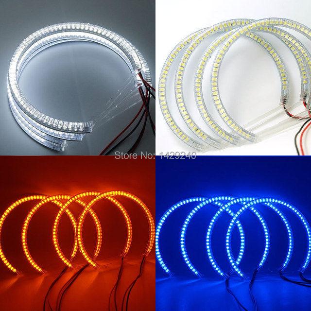 4 unids/set 60SMD-3528 LED ANGEL EYES ANILLOS de HALO Para E46 Coupe 2D (04 +)/E46 Cabrio Nuevo blanco/Amarillo/Azul # CA4756