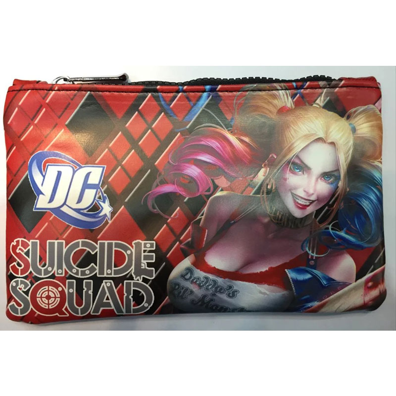 Hot Suicide Squad Pencil Bag Leather Pen Purse DC Anime Suicide Organizer Zipper Bags School Supply Stationery Rectangle Wallets dc marvel comics spider man purse pen pencil stationery wallet leather card key coin money bag case rectangle zipper wallets