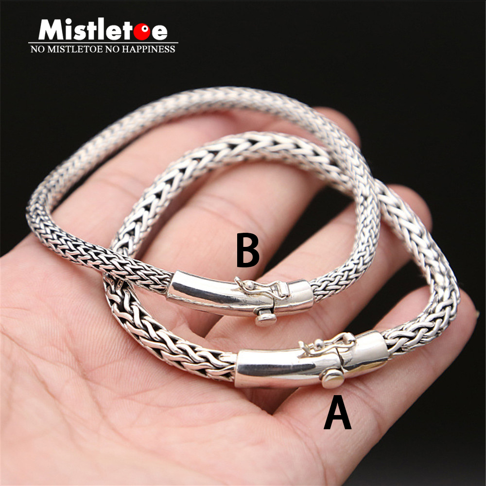 Authentic 925 Sterling Silver Vintage Retro Punk Locomotive Bracelet 20cm/20.5cm For Women & Men Jewelry