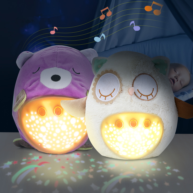 Baby Sleep LED Lighting Stuffed Animal Led Night Lamp Plush Toys With Music & Stars Projector Light Baby Toys For Girls Children