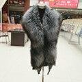 Новый 100% Натуральный Мех Воротника Роскошный Silver Fox Меховой Воротник Кольцо шарф 130 см Женщины Подлинная Фокс Меховой Воротник Пуховик Оптовая