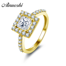 AINUOSHI 10K Solid Yellow Gold Engagement Rings 1 ct Princess Cut Sona Simulated Diamond Wedding Band Jewelry Women Halo Ring