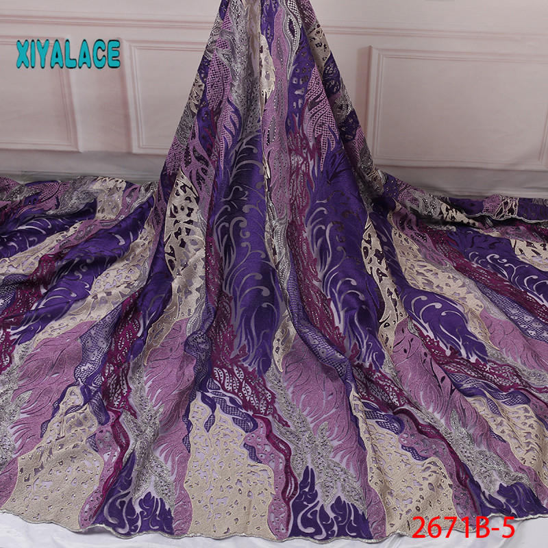 African Lace Fabric Nigerian Beaded Lace Fabrics  French Lace Fabric Hot 2019 High Quality Lace Tulle For Party Dress YA2671B-5