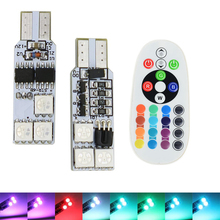 2x T10 194 168 W5W RGB 5050 SMD 6 LED 12 LED Car Reading Wedge Light Lamp 16 Colors LED Bulb With Remote Controller Flash Strobe стоимость