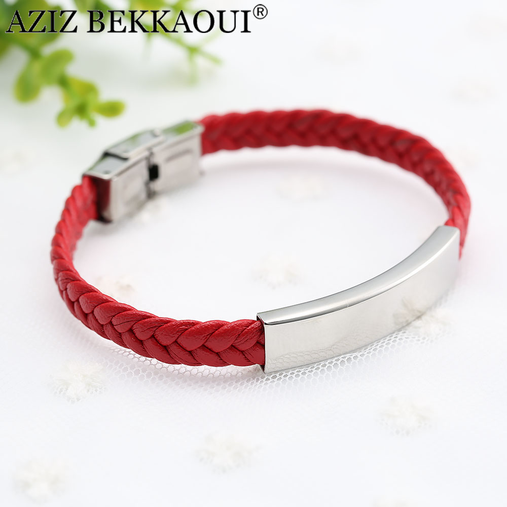 AZIZ BEKKAOUI red stainless steel bracelet personalized name jewelry engrave bracelet for women men customized logo dropshipping ...