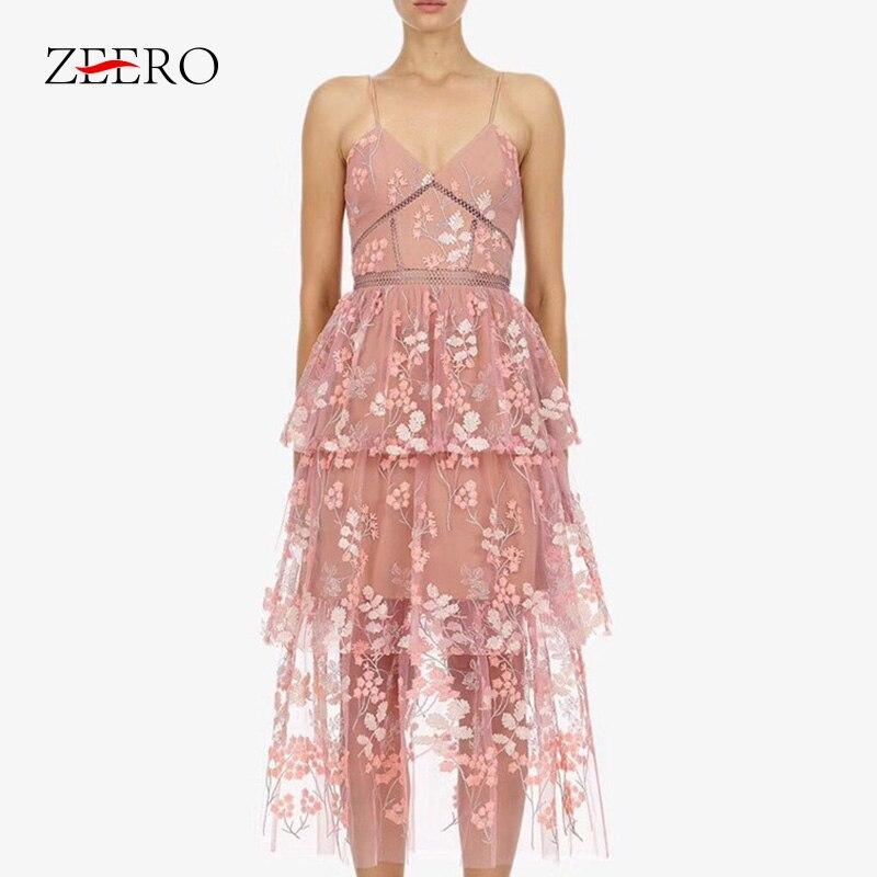 Self Portrait 2019 Runway Pink Embroidery Floral Beach Dress Summer Women Vintage Party Dress Sexy Halter