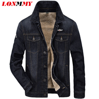 LONMMY Jeans Jacket Men Velvet Thickened Liner Warm Denim Jacket Men Coats Air Force 1 Casual