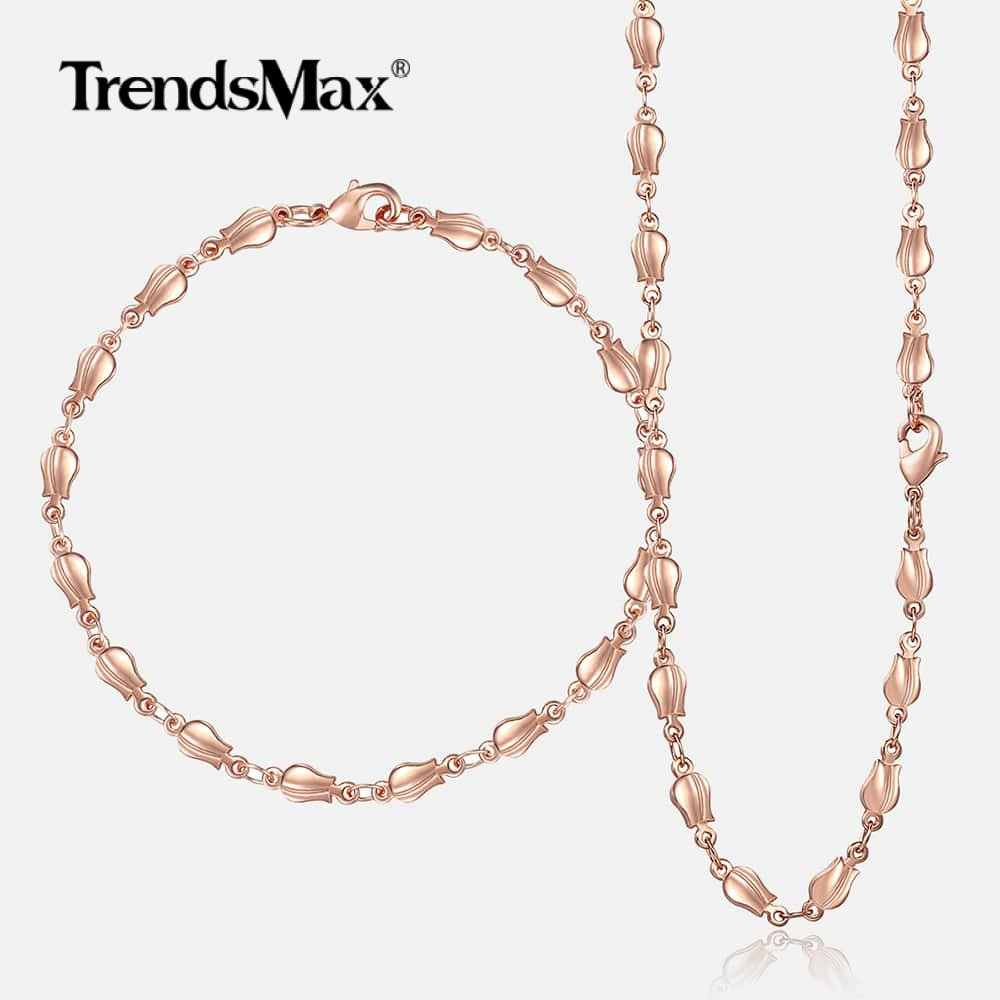 Trendsmax 4mm Jewelry Set for Women 585 Rose Gold Necklace Bracelet Bud Link Chain Women's Fashion Jewelry Gift for Women GS256