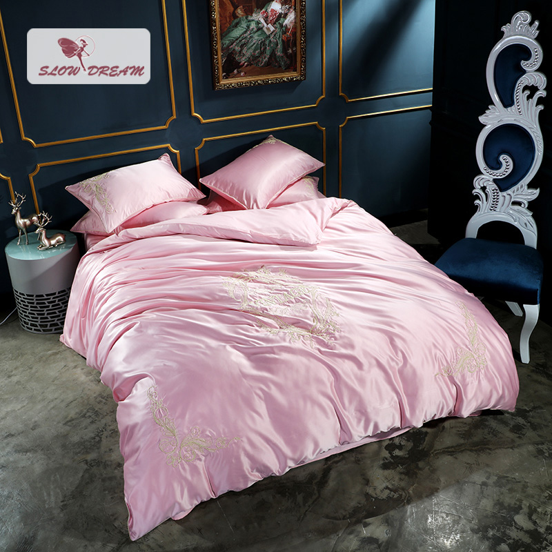 SlowDream Silk Special Embroidery Milan Pink Bedding Set Home Textile Comfort Duvet Cover Set Bed Set With Flat Sheet