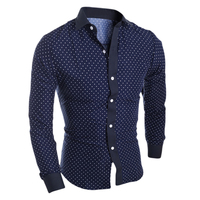 Hot Spring Autumn Mens Shirt Cotton Star Prints Long Sleeve Casual Slim Shirt Plus Size M