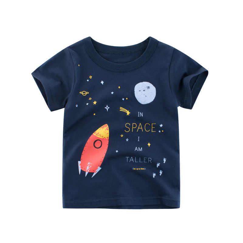 Детская футболка для мальчиков возрастом от 2 до 10 лет хлопковые летние футболки с короткими рукавами и рисунком ракеты и космоса для маленьких мальчиков и девочек, топы