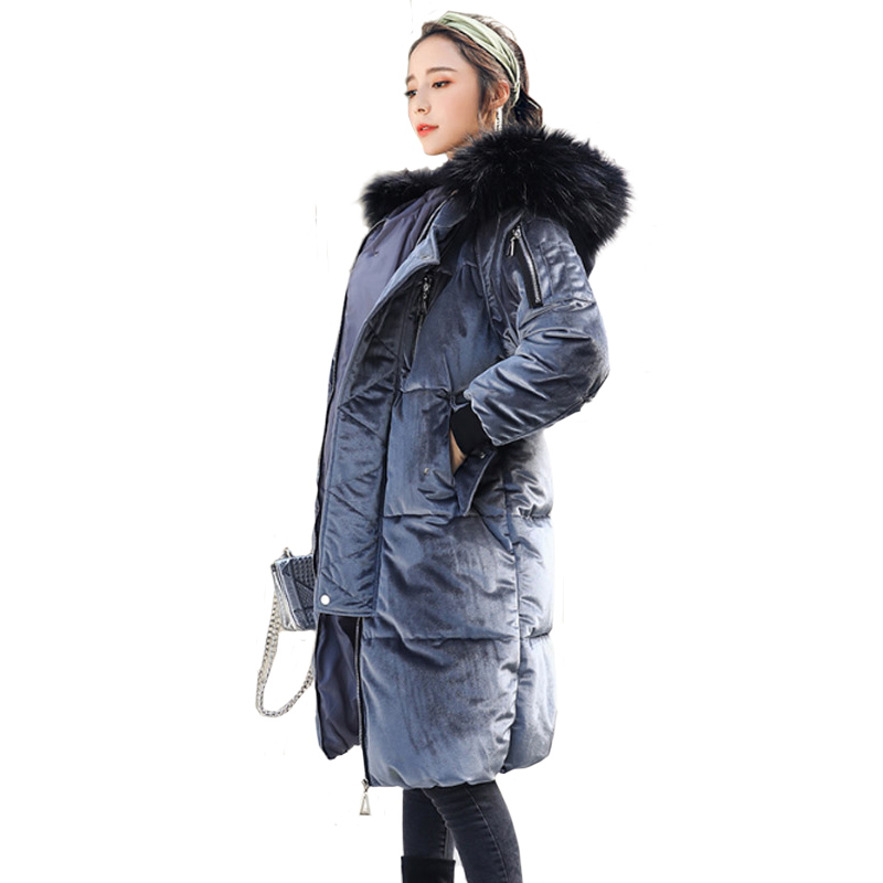 Big Fur Winter Coat 2017 New Long Hat Hooded Large Collar Gold Velvet Cotton Warm  Loose Women Down Jacket Thickened Parka 2017 new fashion winter parkas large fur collar hooded jacket loose cotton coat thickened student long coat female outwears