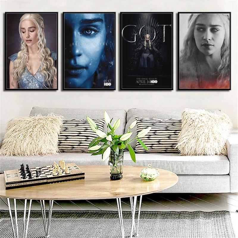 P351 Game Of Thrones Emilia Clarke Actress  Queen Daenerys Targaryen Art Painting Silk Canvas Poster Wall Home Decor