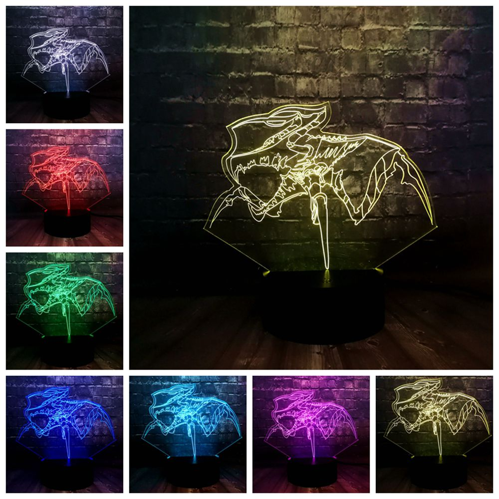 Free Shipping New 3D LED Acrylic Illusion RGB Movie Game of Throne Mother of Dragon 7 Color USB Table Mood Light Holiday Gift image