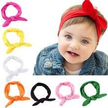 Новинка; Детская повязка на голову; Детские аксессуары для волос; Летние однотонные повязки на голову для маленьких девочек; повязка на голову с бантиком и ушками кролика
