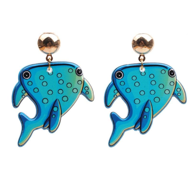 Fashion acrylic marine life shark earrings for women girls novelty ocean sea animal shark fish drop earrings charms jewelry