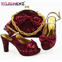 Wine Color Fashion Wedding Shoes And Bag Set Latest African Style Women Pumps Shoes And Bag To Match Set For Party