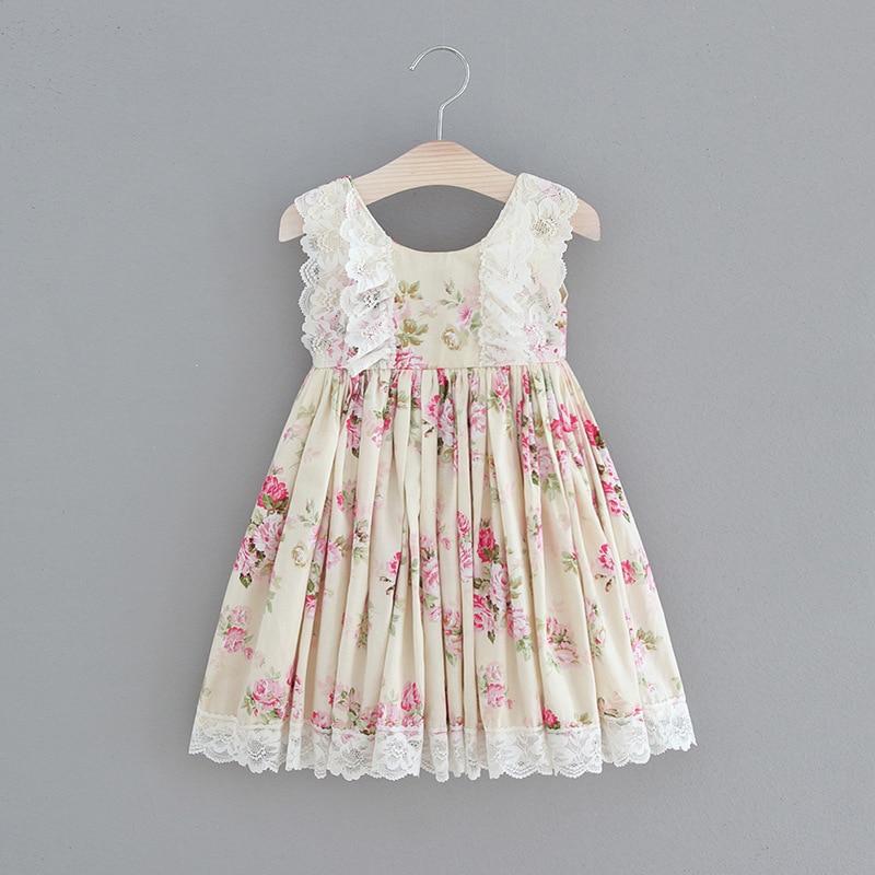 2018 Summer Floral Kids Vintage Dresses Lace Beach Style Princess Boutique Costume Girls Vintage Toddler Girl Brand Clothing