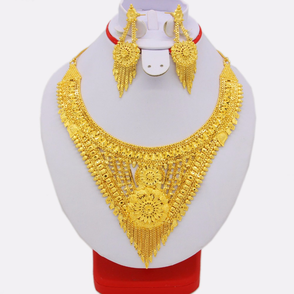 New Ethiopian Necklace&Earrings Jewelry Set for Women Gold Color & Copper African/Arab/Middle East Wedding/Party Gifts adiors long middle parting shaggy wavy color mix synthetic party wig