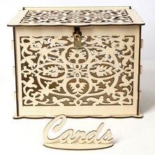 DIY деревянная коробка для приглашения на свадьбу с замком и слотом для деревенский Свадебный декор QJ888