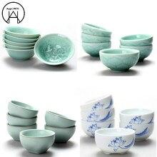 6 шт. керамика ледяная глазурь аксессуары для чая Tie Guan Yin чай s чашки для хранения чая канистра чайный набор мешок
