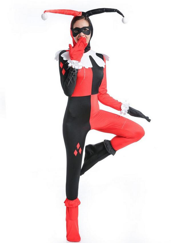 Harley Quinn  Cosplay Costume Women Adult Sexy Superhero Clown Spandex Full Bodysuit Halloween Party Costumes For Women Mask